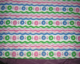"Gorgeous Pink, Blue & Green Squiggly Stripes Feed Sack**42"" x 37"" opened feed sack-30's -40's"
