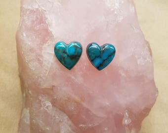 Blue Gem Turquoise Heart Cabochon Pair/ backed