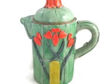Art nouveau style teapot clay art collectible home decor jade green with tulip design