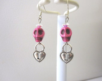 Sugar Skull Earrings Day Of The Dead Jewelry Hot Pink
