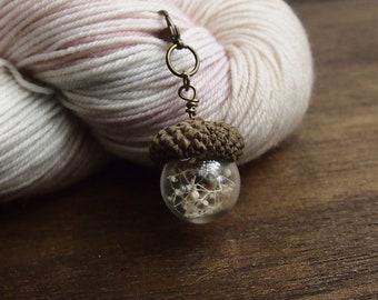 Knitting Progress Keeper - ACORN Stitch Marker -  Crochet Stitch Marker - Silver Charm - Snag Free Knitting Stitch Marker  Charm Jewelry