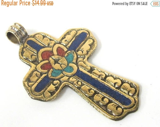 SALE 1 Pendant - Large Tibetan solid Brass cross pendant with lotus floral carving lapis turquoise coral  inlay - PM565A Copyright Nepalbead