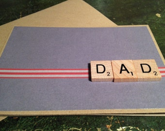 Fathers Day Card. Dad Wooden Scrabble Tile embellishments. Handmade
