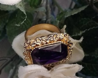 Statement Ring, Gold Dome, Purple Stone, Gold Scroll Bands, Costume Statement Rings, Adjustable Rings, Scroll, Gold Tone Rings