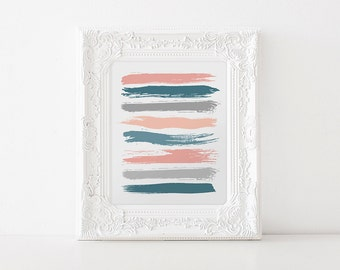 Printable Art - Instant Download Printable Art - Teal Wall Art - Coral Prints - Teal Decor - Abstract Art - Brush Strokes - Wall Art - Fine
