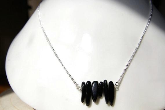 Black Obsidian Bar necklace, Silver 925 necklace, Black Obsidian Gemstone, birthstone, Obsidian jewelry, Minimalist, Zodiac