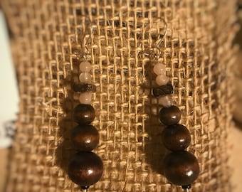 Sunstone and Wood Earrings