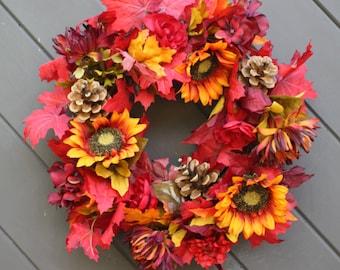 Fall Wreath/ Thanksgiving Wreath/ Harvest Wreath/ Sunflower Wreath/ Autumn Wreath/ Fall Door Wreath/ Seasonal Decoration/ Fall Harvest Door
