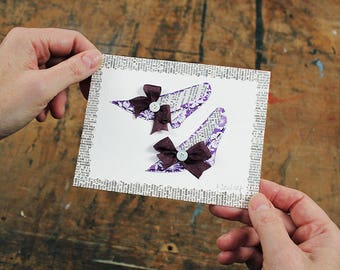 Mini Shoe Collage, Original Shoe Collage, Handmade Shoe Art, Purple Floral Shoe, Mixed Media Paper Collage, Handmade Card