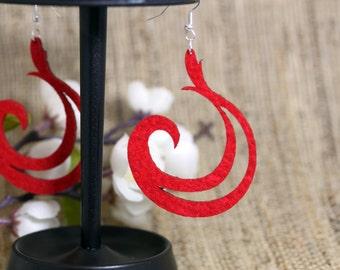 Red Felt Laser Cut Earrings