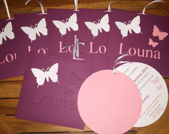 Pink and Purple Butterfly Theme invitation