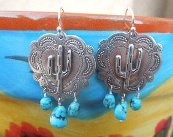 Stamped Santa Fe Southwestern Heart Saguaro Cactus Concho Turquoise Earrings Sleeping Beauty Turquoise and Sterling Silver