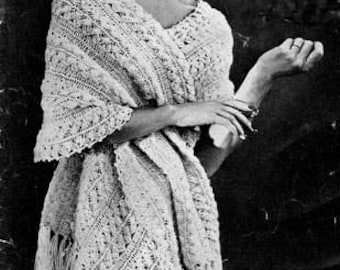 Stole Shawl Hairpin Lace Crochet Pattern Vintage 725008