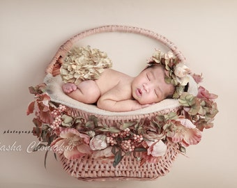 digital backdrop  background newborn baby  girl  pink peach blossoms basket on the wall