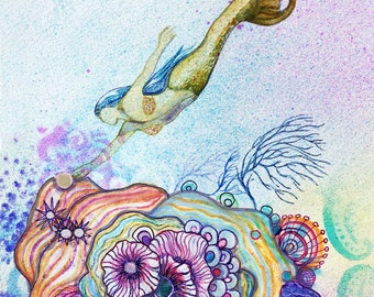 SERENE PLANTS Her GARDEN Mermaid Print, Mermaid Wall Art, Mermaid Decor,  Fine Art Print, Beach, Wall Decor, Ocean Art, Affordable Art