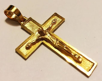"14k solid yellow gold(2""inch)3D engraved crucifix cross(6gr)"