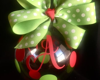 CUSTOM Monogram Polka Dot Glass Christmas Ornament