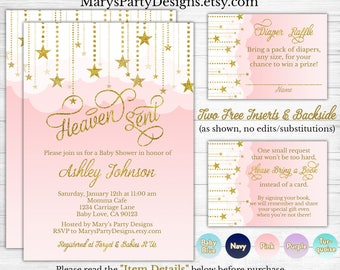 Heaven Sent Baby Shower Invitation - Pink Coed Twinkle Twinkle Little Star Diaper Raffle Ticket Book Request Card Personalized Printable