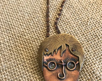 Artisan Made John Lennon Copper & Brass Modern Necklace, Must Have!
