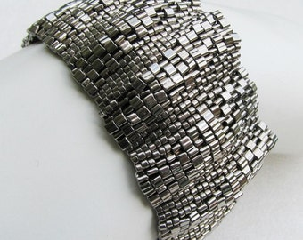 Corrugated Steel Peyote Cuff