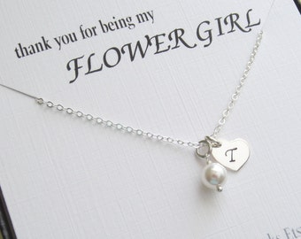 Personalized Flower Girl Thank You Gift | Flower Girl Initial Necklace | Sterling Silver Girl Necklace | Children Jewelry
