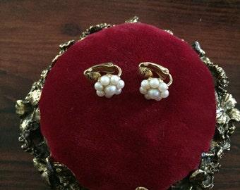 Vintage Small Pearl Flower Clip on  Earrings