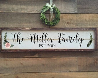 Family name sign, framed shiplap, home decor
