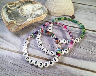MOBILE NUMBER Bracelet - Medical Alert Bracelet - Cell Phone Bracelet - Medical Bracelet - Medical ID Bracelet - Glass Seed Bead Bracelet