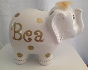 Personalized Large White Gold Polka Dots Elephant Piggy Bank - Newborns, Birthday Girls, Flower Girl, Baby Shower Gift Centerpieces