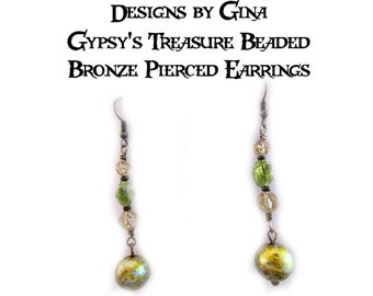 Gypsy's Treasure Beaded Bronze Pierced Earrings DG0043E1  Handmade Original Designs by Gina Dangle Drop Green Beads Upcycle Recycle