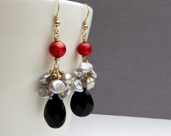 Black Onyx Grey Keishi Pearls Red Murano Gold Earrings