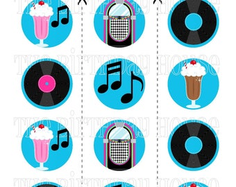 INSTANT DOWNLOAD - PRINTABLE Fabulous 50s Party Rounds - Assorted Jukebox and Music Cupcake Toppers by The Birthday House