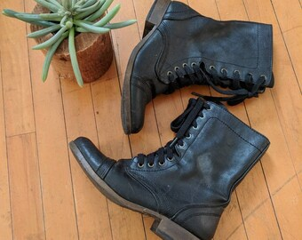 Vintage 90's Black Lace-Up Combat Boots, Women's Size 7