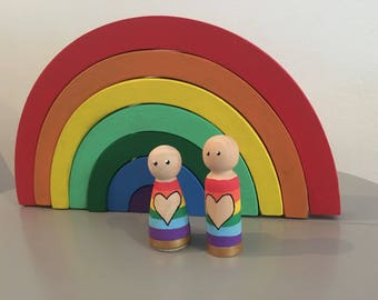 Rainbow wooden peg dolls/ peg people/ grimms inspired