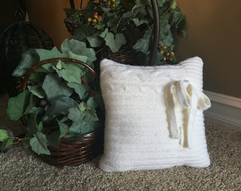 Ivory Cable Knit Pillow with Bow