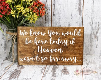 We Know You Would Be Here If Heaven Wasn't So Far Away Sign, Wedding Signs, Rustic Wedding Sign, Heaven Sign, Remembrance Sign