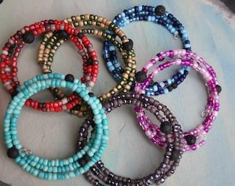 Essential Oil Diffuser Bracelet Memory Wire, Aromatherapy Bracelet, Diffuser, Lava Stone Bracelet, Lava Bead, Memory Wire Lava Stone