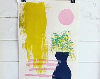 Vase in the sunshine - original screenprint