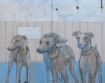 The Squirrel Chasers - dog, whippet, greyhound, pet portrait painting - limited edition print