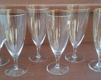 Vintage Rogaska Tara Gold Ice Tea Glasses/Goblets, Barware, Stemware, Glassware, Original Made in Yugoslavia Sticker
