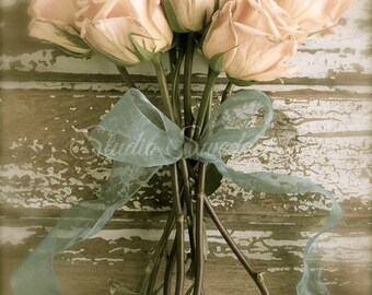"Rose Print, Shabby Cottage Chic Art, French Country Flower Photograph, Garden Photo, Romantic Peach Rose Art, Farmhouse- ""Rustic Romance"""