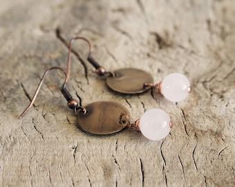 Bronze earrings and rose quartz, long earrings, boho jewelry earrings, rose quartz, bronze, gipsy earrings, chandelier earrings