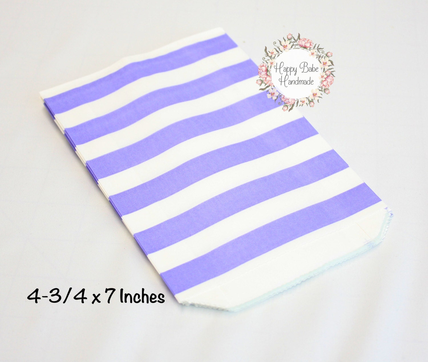 Lavender Rugby Stripe Bag, 4--3/4 by 7 Inches, 12 Bags, Light Purple ...