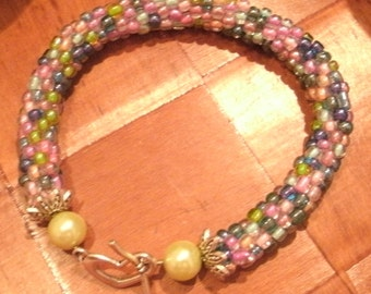 Pastel Bead Crochet Bracelet Colorful Handcrafted Boho