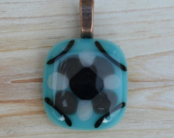 SALE Necklace: Light Blue Fused Glass Pendant with Black, Gray, & White Embellishments