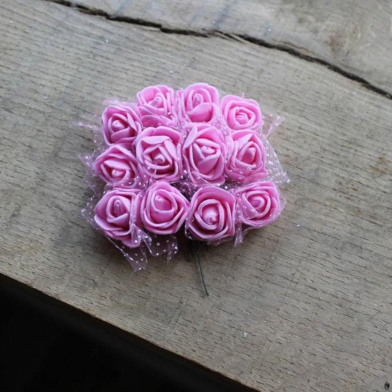 Artificial Flower, Pink Mini Bouquet, Miniature Roses, Foam Mini ...