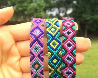 Adjustable Diamond-Pattern Friendship Bracelets- 3 Color Variations
