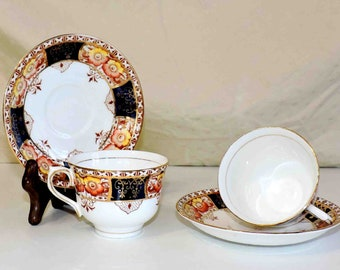 Colclough China Cups and Saucers Vintage Made In London England # 6613 Genuine Bone China