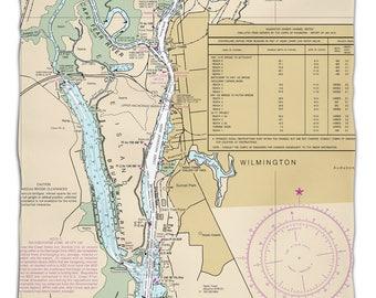 NC: Wilmington, NC Nautical Chart Fleece Throw Blanket, Map Blanket