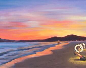 Thailand Painting. Ko Samet Painting. Fire Dancer Painting. Fire at Dusk. Thailand Landscape. Ko Samet Beach. Fire Juggler. Winged Canvas.